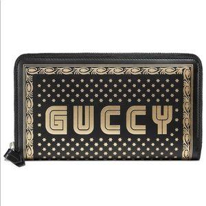 GUCCI Moon & Stars Leather Zip Around Wallet Black